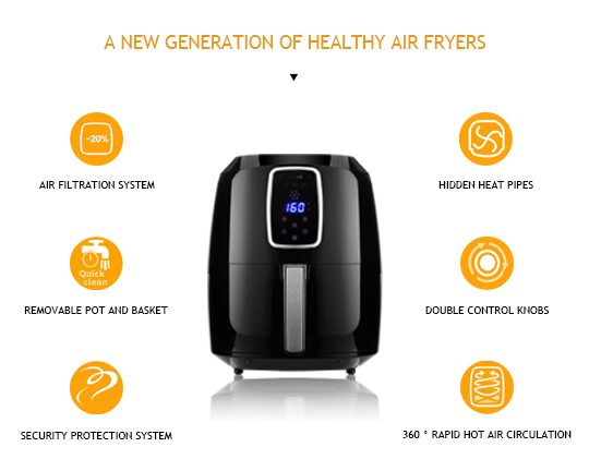Clatterans 1800W 7L Digital Air Fryer Oil Free with Timer